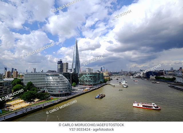 View of London and Thames river from the Tower Bridge, London, United Kingdom