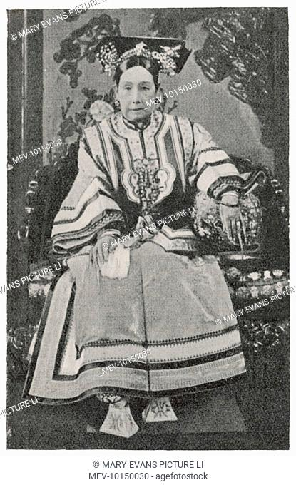 TZU-HSI, AKA HSIAO-CH'IN &C, Empress Dowager. Consort of Emperor Hsien Feng mother of T'ung Chih. Virtual dictator from 1861 until her death in 1908