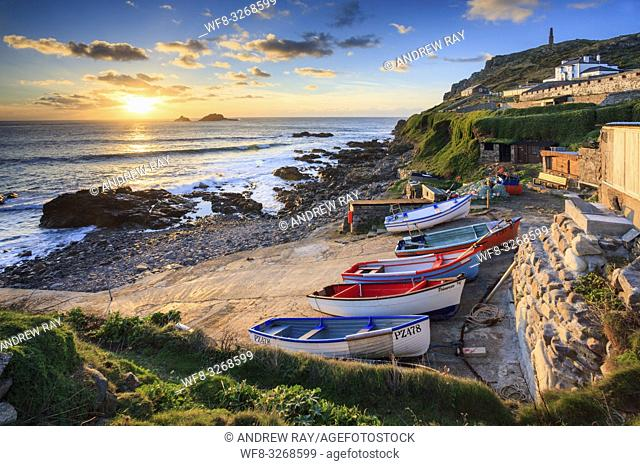 Boats on the slipway at Cape Cornwall near St Just in the far west of Cornwall