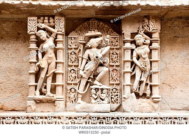 Sculpture of varaha on the wall of queens step well , Patan , Gujarat , India