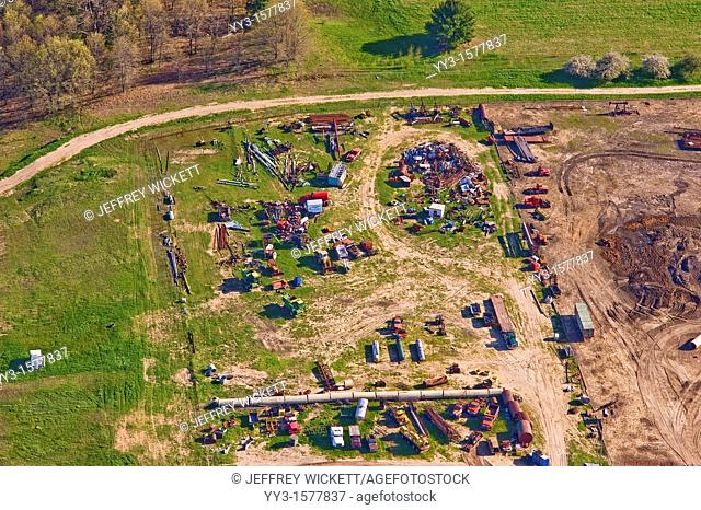 Aerial view of junked farm equipment in Michigan, USA