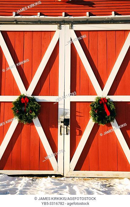 Christmas wreathes hand on a barn door