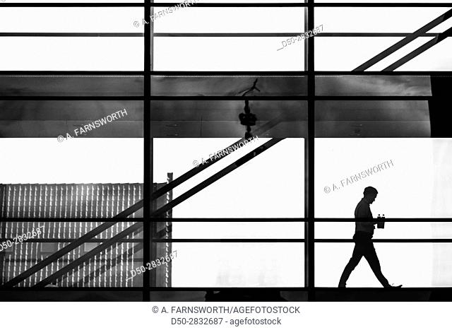 COPENHAGEN DENMARK Man walks in office building