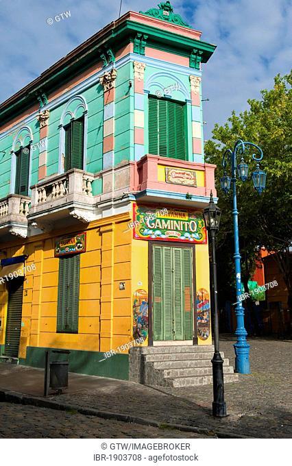Colourful house, El Caminito street, La Boca district, Buenos Aires, Argentina, South America