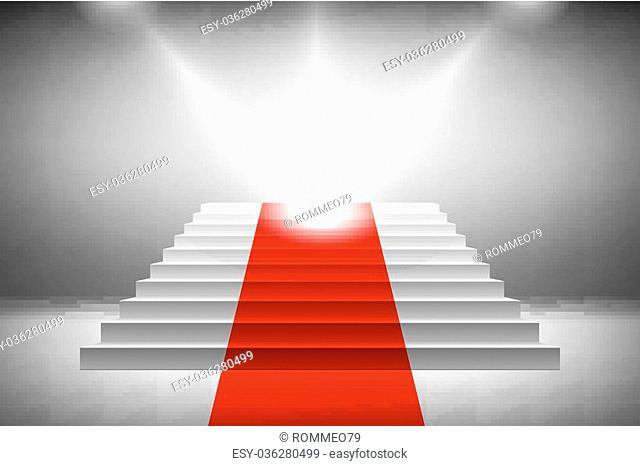 3d image of red carpet on white stair vector art