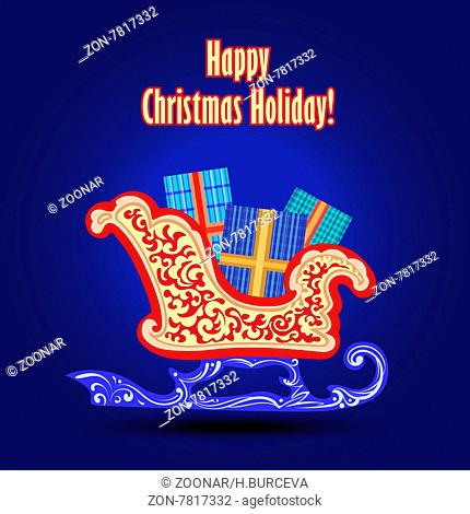 Blue Christmas and New Year greeting card