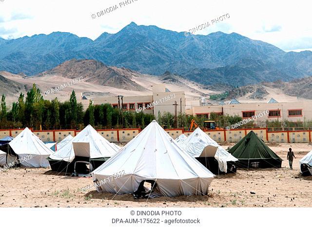 Victims relief camp in choglamsar due to flashflood , Leh , Ladakh , Jammu and Kashmir , India