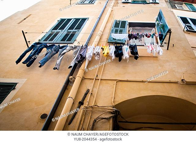 Detail of typical Italian old yard, Sanremo, Italy