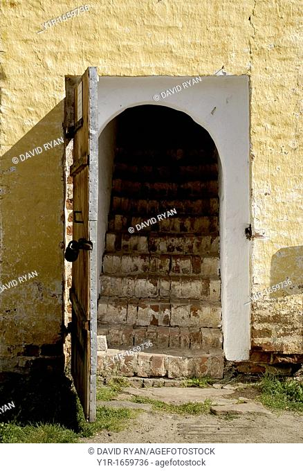 Russia, Goritzy, Vologda Oblast Monastery of the Resurrection, door to the cells founded by Saint Cyril in 1397