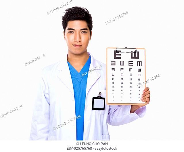 Optician holding with eye chart