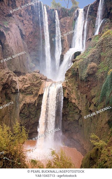 Cascades d`Ouzoud Tanaghmeilt Azilal Morocco  Ouzoud waterfalls on fast flowing El Abid River in gorge in Middle Atlas mountains