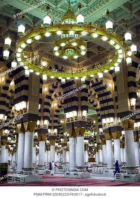 Interiors of a mosque, Al-Haram Mosque, Mecca, Saudi Arabia