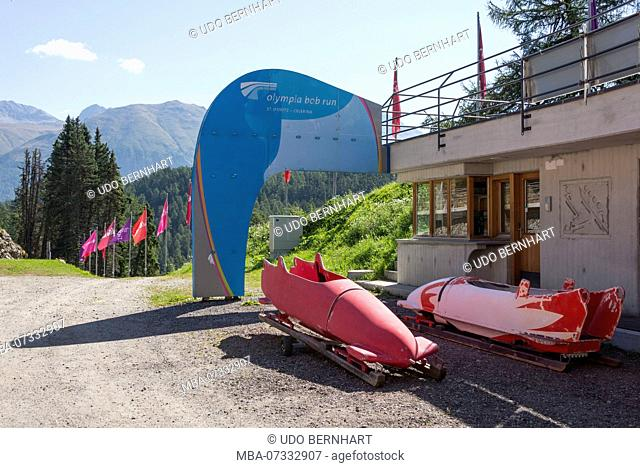 The Olympic Bob and luge run in summer, St. Moritz-Celerina, Upper Engadine, Engadin, Canton of Grisons, Switzerland