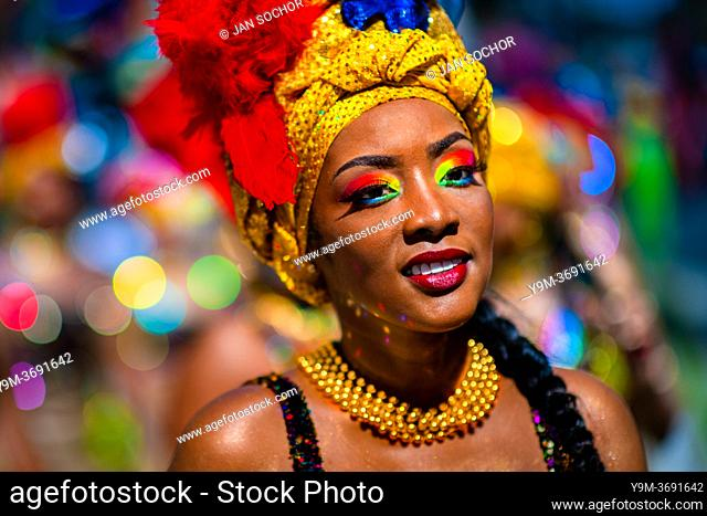 An Afro-Colombian dancer of the La Yesquita neighborhood takes part in the San Pacho festival in Quibdó, Colombia, 30 September 2019