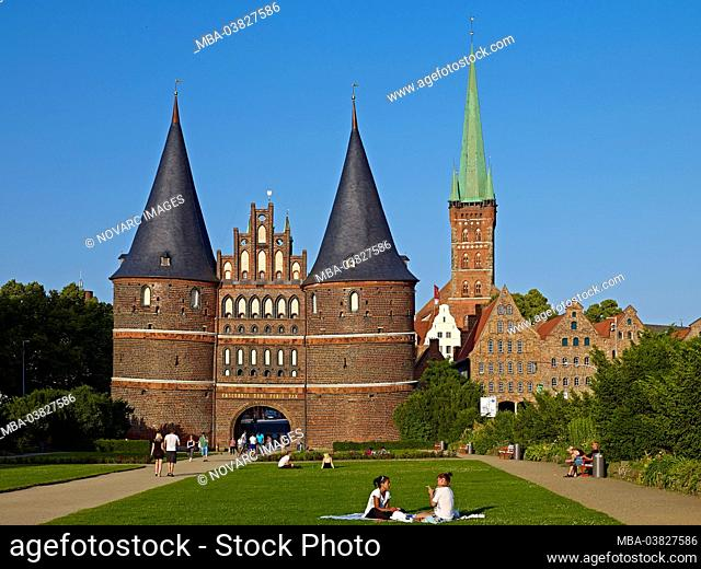 Holsten Gate in the Hanseatic City of Lbeck, Schleswig-Holstein, Germany