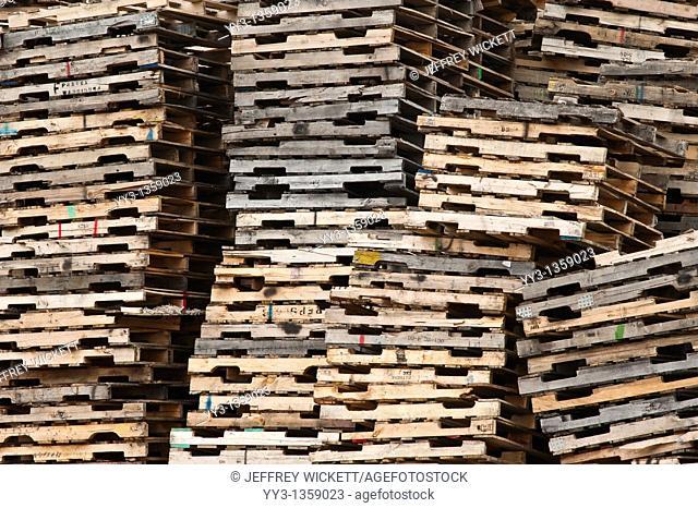 Pallet recycling center near Ludington, Michigan, USA