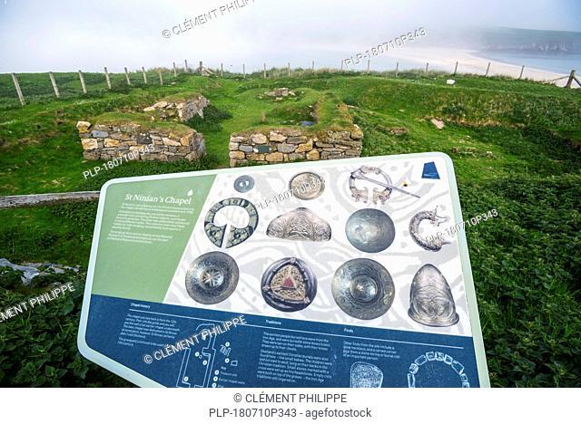 Information panel about St Ninian's Isle Treasure at the 12th-century chapel ruins, Dunrossness, Mainland, Shetland Islands, Scotland, UK