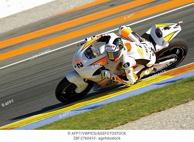 rounds the bend during the MotoGP Testing - 2017 Seasson at Circuit of Valencia Ricardo Tormo on November 15, 2016 in Valencia, Spain