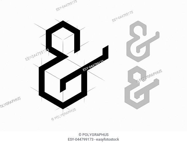 Elegant vector ampersand on light background. Eps8. RGB. Global colors