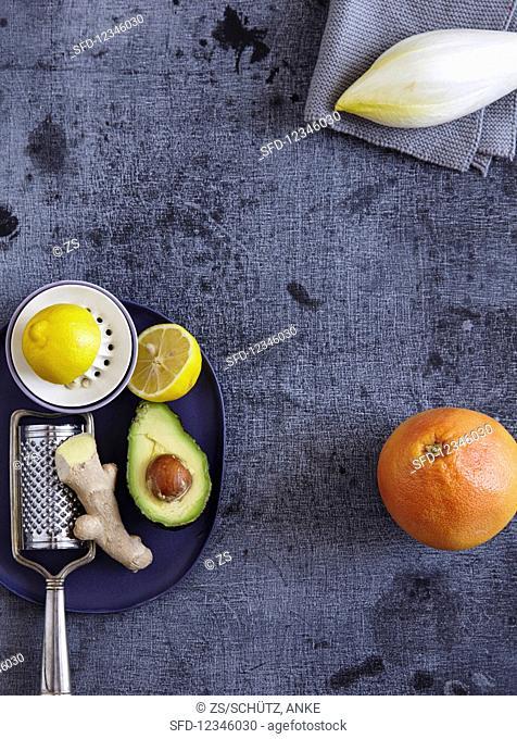 Ginger, lemon, avocado, chicory, and grapefruit