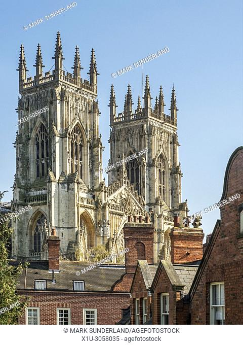 Towers of York Minster from the city walls near Bootham Bar York Yorkshire England