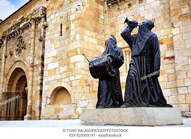 Nazarenos statues at Zamora San Juan church in Plaza Mayor at spain