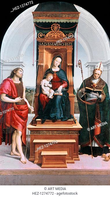 'The Ansidei Madonna', 1505. This altarpiece shows the Virgin on a high throne, with Saint John the Baptist on the left, and Saint Nicholas of Bari to the right