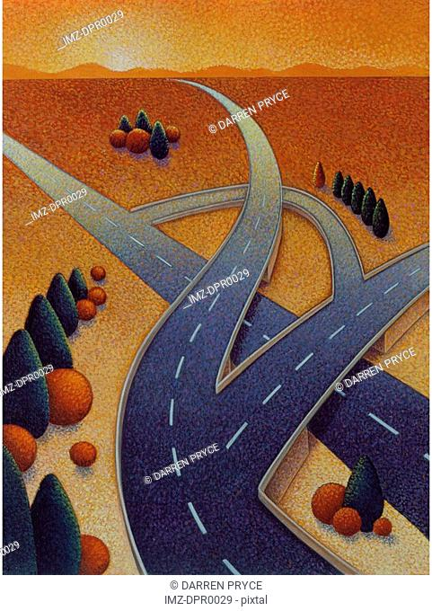 A winding freeway system