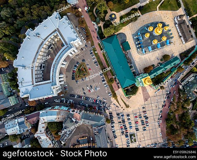 St. Michael's Golden-Domed Monastery and Ministry of Foreign in Kyiv. Top view panoramic photo. Horizontal