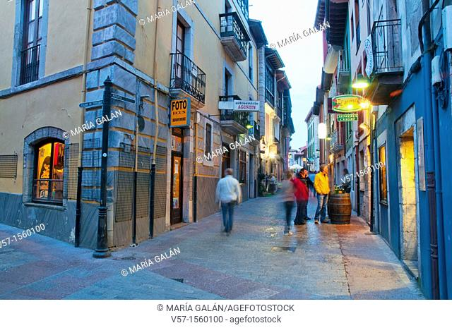 Street at night. Llanes, Asturias province, Spain