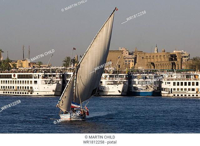 Traditional felucca sailing boat and cruise boats on the River Nile near Luxor, Egypt, North Africa, Africa