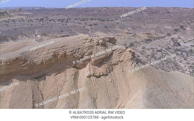 Aerial footage of a Nabatian fortress in the desert