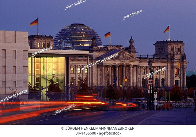 Reichstag parliament with dome by Sir Norman Foster, Platz der Republik square, Swiss Embassy and Paul-Loebe-Haus building