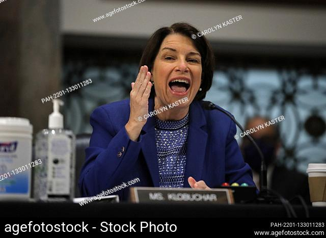 United States Senator Amy Klobuchar (Democrat of Minnesota), gives her opening statement during a US Senate Judiciary Committee business meeting to consider...