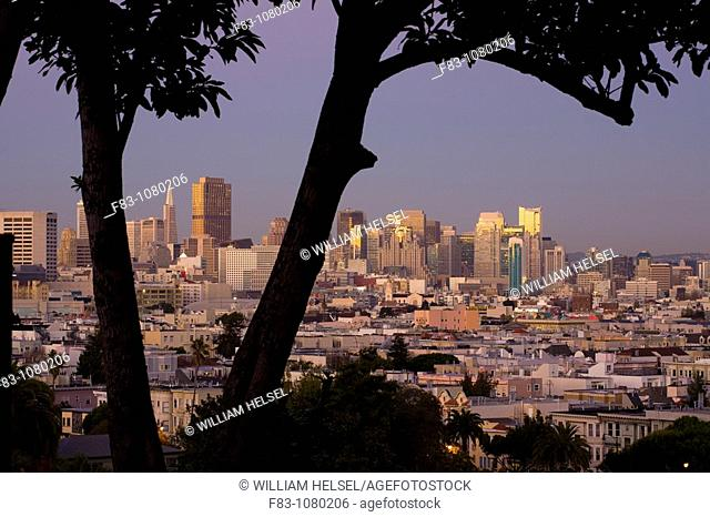 USA, California, San Francisco, Financial District skyline with high-rise office buildings including Transamerica Pyramid and Bank of America Building