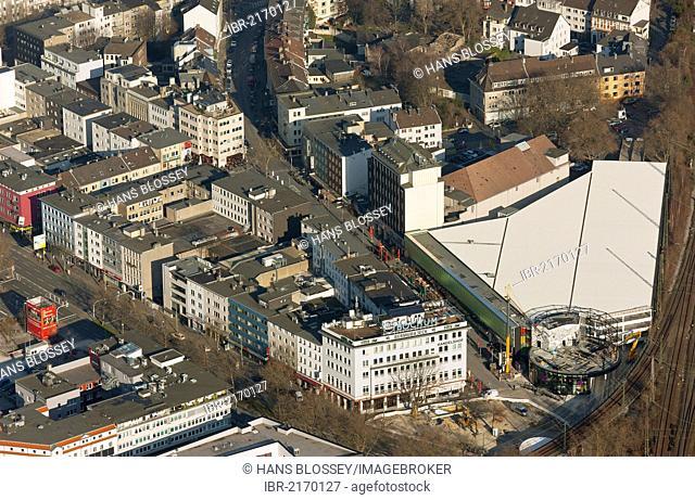 Aerial view, Bermuda3eck, Bermudadreieck, renovated multi-storey car park, Kortumstrasse, Bochum, Ruhr Area, North Rhine-Westphalia, Germany, Europe