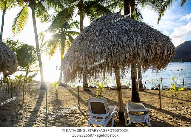 Sunset at the Salines beach of the Club Med, where you can rent huts, chairs, do water ski, windsurf and enjoy the sunset on the dock