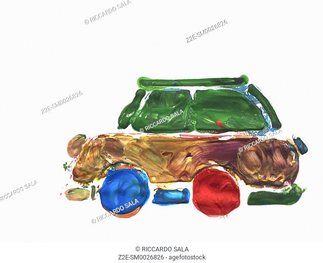 Children's Hand Painted Picture, Car Isolated on a White Background. .