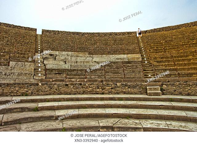 Large Theatre, Excavations of Pompeii, was an ancient Roman town destroyed by volcan Mount Vesuvius, Pompei, comune of Pompei, Campania, Italy, Europe