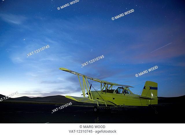 Biplane crop duster; Palouse, Washington, United States of America