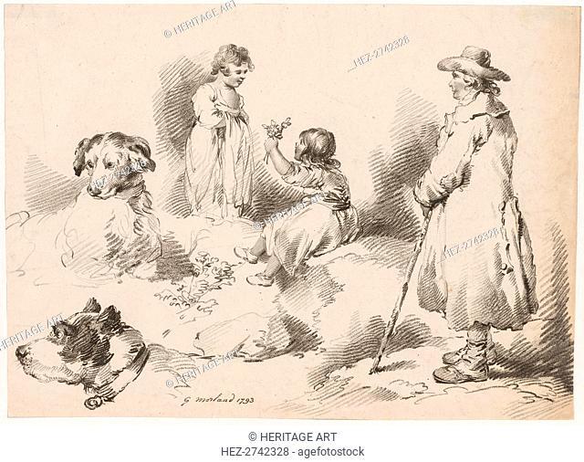Studies of Children (Two Little Girls); Two Dogs; A Man, 1793. Creator: J. Harris, Gerrard Street, Soho, London