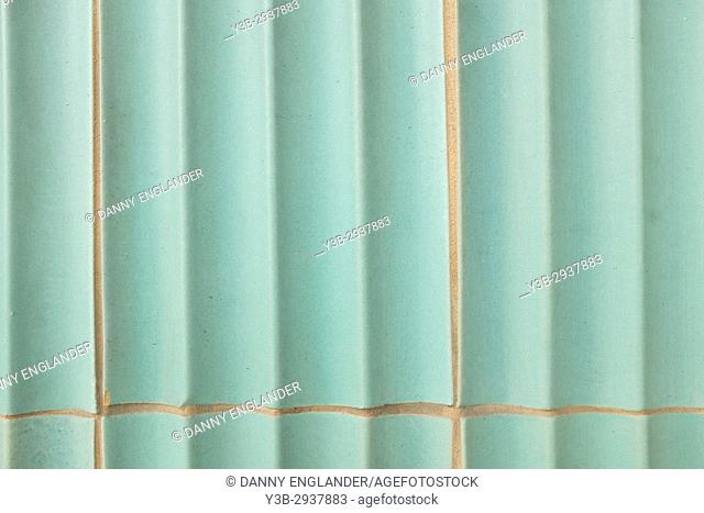 Close-up detail of turquoise green ceramic tiles