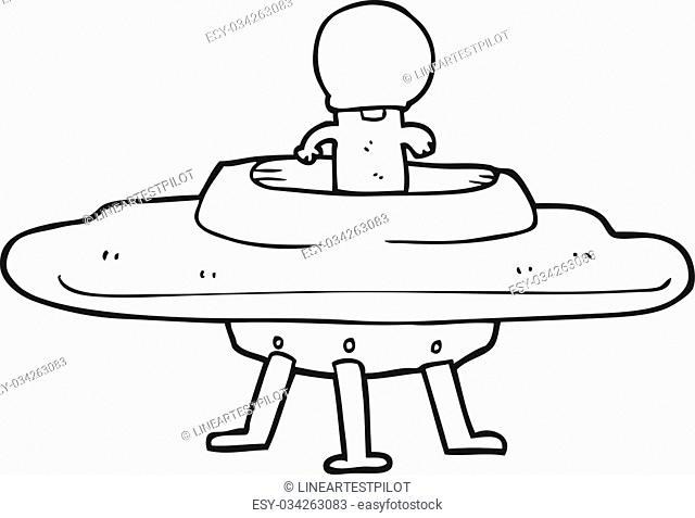 freehand drawn black and white cartoon flying saucer