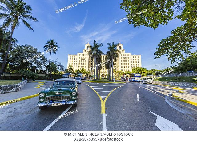 Classic American car being used as a taxi, locally known as almendrones, Havana, Cuba
