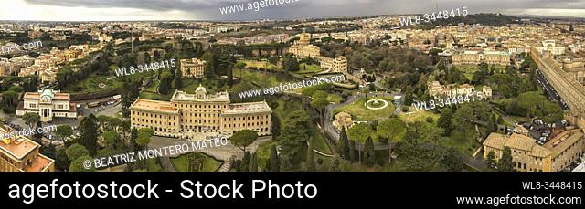 Panoramic of the city of the Vatican and the city of Rome from the viewpoint of St. Peter's Basilica (Italy)