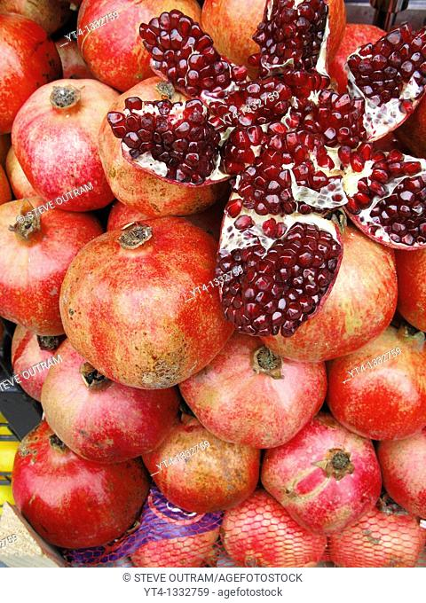 A display of fresh Pomegranates, Beyoglu Cafe Bar, Istanbul, Turkey