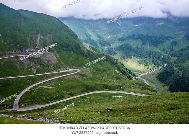 Transfagarasan Road (DN7C also known as CeauÈ. escu's Folly) crossing the southern section of the Carpathian Mountains in Romania