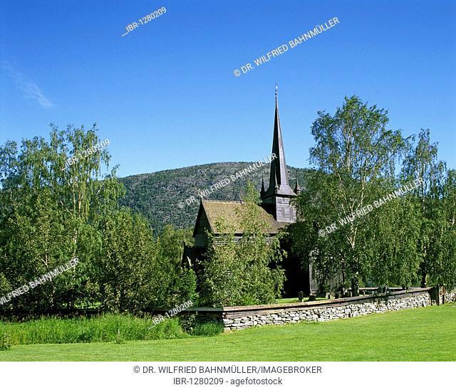 Stave church, Lom, Norway, Scandinavia, Europe