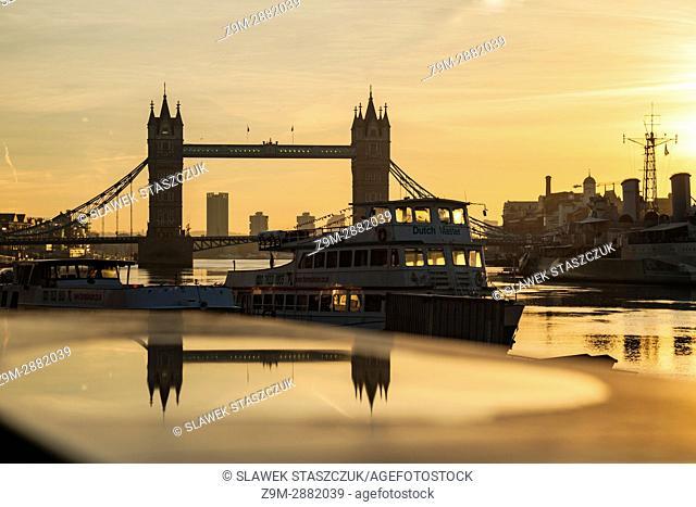 Sunrise at Tower Bridge in London, England