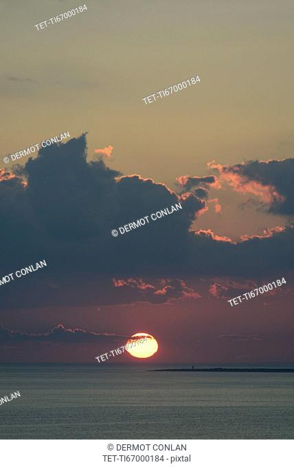 View of sunset sea